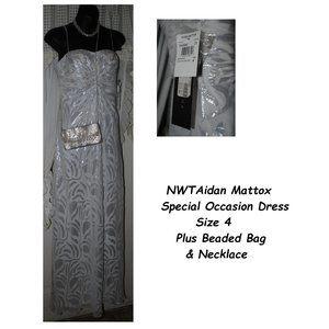 NWT AIDAN MATTOX Silk Dress Sz 4 + Bag & Necklace